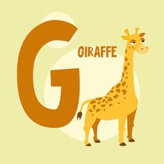 Funny orange giraffe on the background of the letter G. Vector i