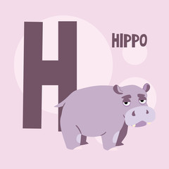 cute hippo on a background of the letter H. The square backgroun