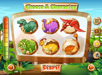 Game template with dinosaur characters