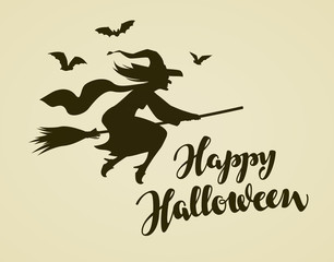 Happy Halloween greeting card. Witch flying on broomstick. Vintage vector illustration