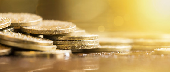 Website banner of golden money coins