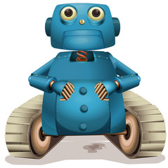 Blue robot with wheels