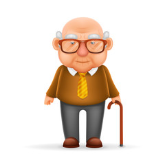 Old Man Grandfather 3d Realistic Cartoon Character Design Isolated Vector Illustrator