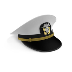 Hat naval officer on white. 3D illustration