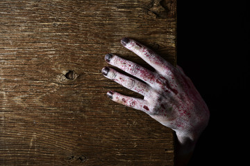 zombie hand popping up