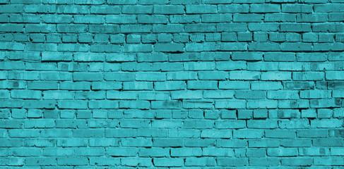 Turquoise brick wall background, brick texture