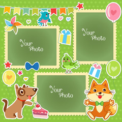Photo Frames For Kids. Decorative Template For Baby, Family Or Memories. Scrapbook Vector Illustration. Birthday Children'S Photo Framework. Photo Frames Collage. Photo Frames Making At Home.