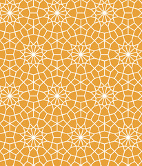 Yellow and white moroccan lattice tile geometric star seamless pattern, vector