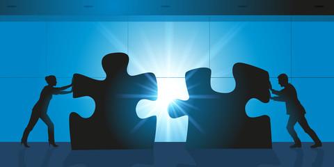 Solution - Partenaire - Puzzle - Entreprise  - Homme Femme