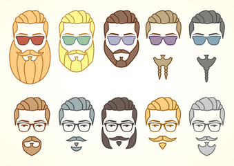 Vector illustration. Set of hipster face with mustaches and beards