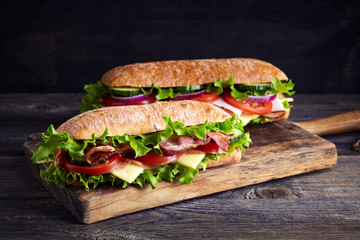 Aluminium Prints Snack Two fresh submarine sandwiches