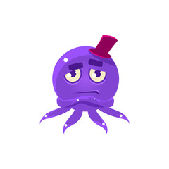 Snobbish Funny Octopus In Top Hat Emoji