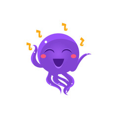 Dancing And Singing Funny Octopus Emoji
