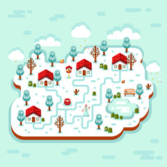 Vector flat style isometric 3d stock illustration of cartoon winter village, trees, well, footpath, pond, clouds, bench, snowman, birds feeders. Rural landscape.