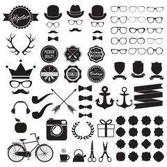 Hipster icons set. Vintage and hipster style signs collection. Retro design infographic elements: sunglasses, frames, labels, mustaches, arrows, ribbons. Vector illustration.
