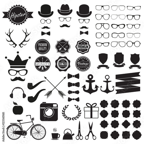 924961486b Hipster icons set. Vintage and hipster style signs collection. Retro design  infographic elements  sunglasses