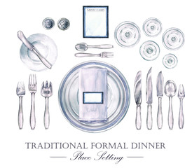 Traditional Formal Dinner Place Setting. Watercolor Illustration