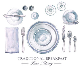 Traditional Breakfast Place Setting. Watercolor Illustration