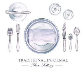 Traditional Informal Place Setting. Watercolor Illustration