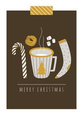 Christmas vector card. Winter seasonal set. Hand drawn illustration