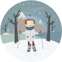 Illustration girl on skis in the circle