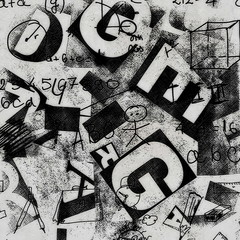 grunge collage of letters background with  hand drawn school doodle