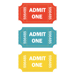 Admit one ticket set isolated on white background. Colorful vector illustration of cinema or theater retro ticket.