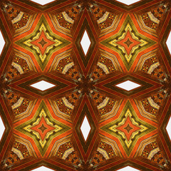 Abstract seamless vintage wooden pattern with orange, brown and yellow stars. Kaleidoscopic ornamental pattern with wooden texture