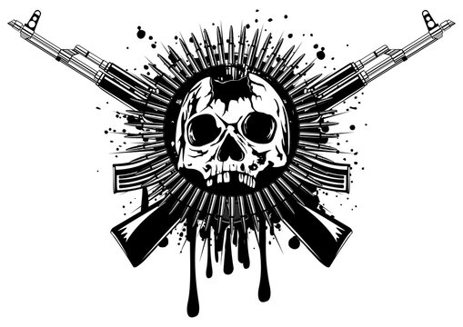 punched skull with crossed machine gun