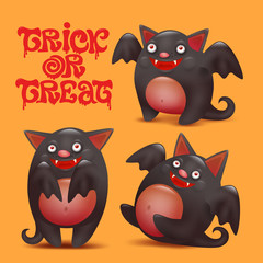 Funny bat caracters set. Halloween card