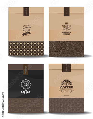 Paper Package Design Mock Up Template Cafe And Restaurant Packaging Coffee Badge Logo