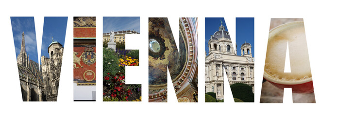 Vienna Austria collage on white
