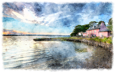 Wall Mural - Watercolour Painting of a Cottage by the Sea