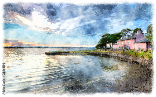 Wall mural Watercolour Painting of a Cottage by the Sea