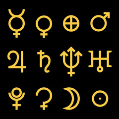 Zodiac and astrology symbols of the planets