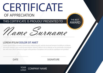 Blue Elegance horizontal certificate with Vector illustration ,w
