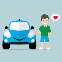 Man with lovely car flat style, vector illustration