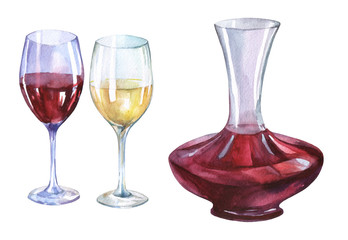 Decanter, glasses of red and white wine. Hand drawn watercolor painting on white background.
