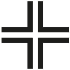 Gamma Cross Icon black silhouette. Ancient Christian sign. Vector illustration.