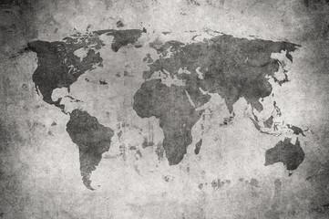Deurstickers Wereldkaart grunge map of the world
