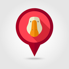 Goose flat pin map icon. Animal head vector