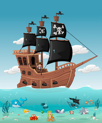 Cartoon pirate boy on a ship with fish and mermaid under water.