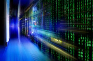 series mainframe in futuristic representation of a matrix code