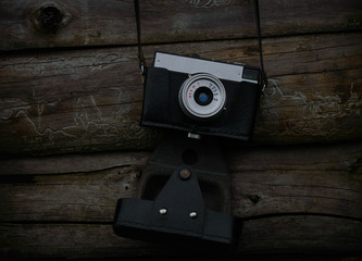 retro camera on a wooden background