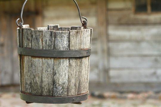 wooden bucket water