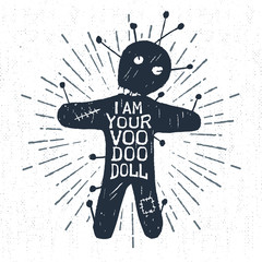 Wall Murals Halloween Hand drawn Halloween label with textured voodoo doll vector illustration and