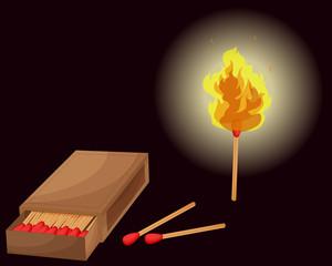 Matchbox and lighted match