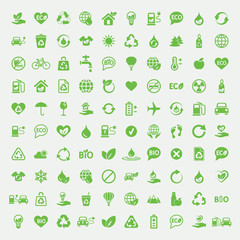 eco bio green simple icons om white background