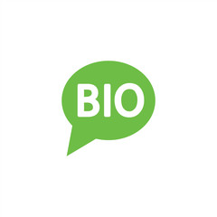 bio sign character emblem label word bubble dialog green simple