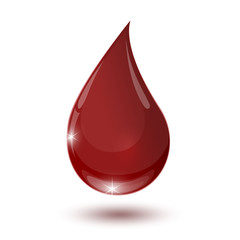 large glossy red drop of blood isolated